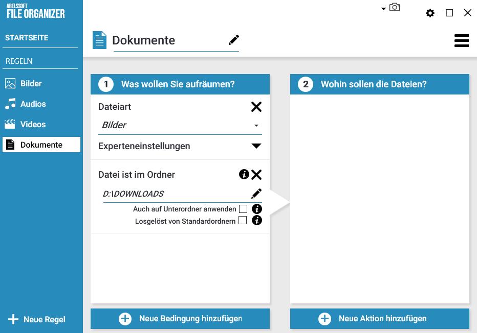 Ordner und Verzeichnisse automatisch aufräumen - Bestimmte Ordner wählen