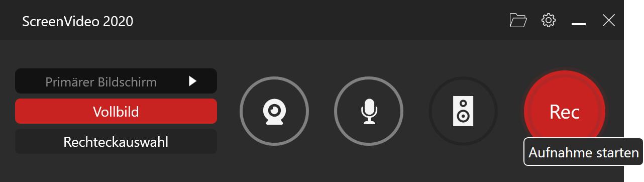 Desktop mit Ton und Video aufnehmen - Rec-Button