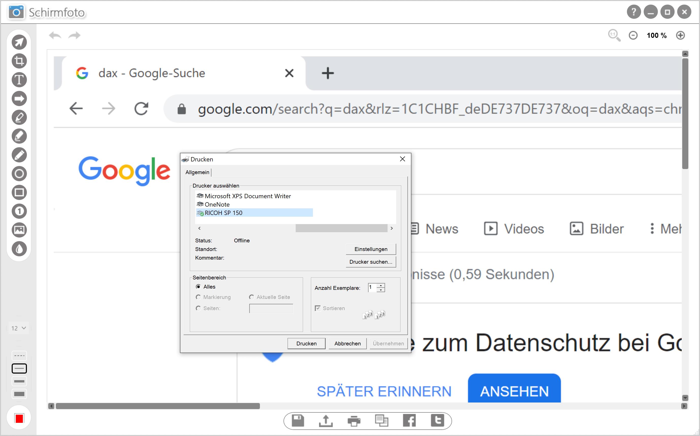 Screenshot ausdrucken - Drucker auswählen