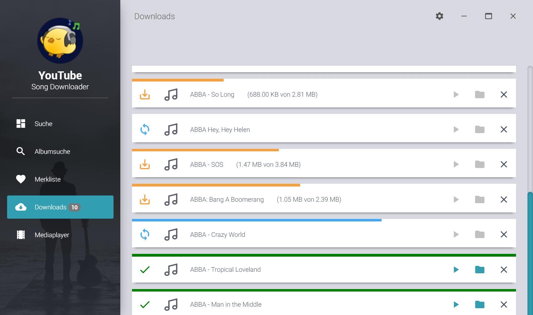 Ganze Alben downloaden - Downloadstatus der einzelnen Songs
