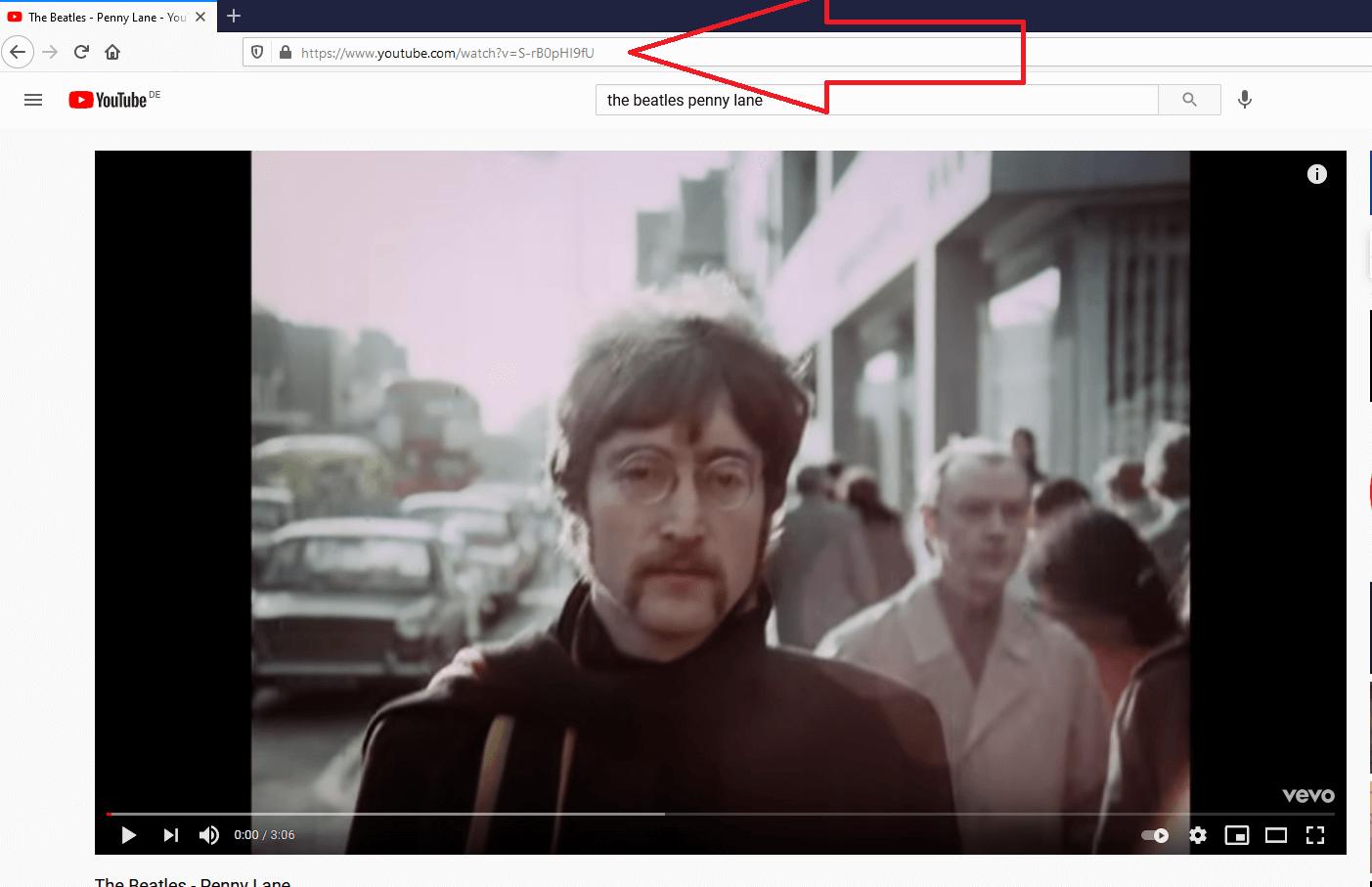 In der Adresszeile deines Browsers findest du den Youtube-Link des aufgerufenen Videos.